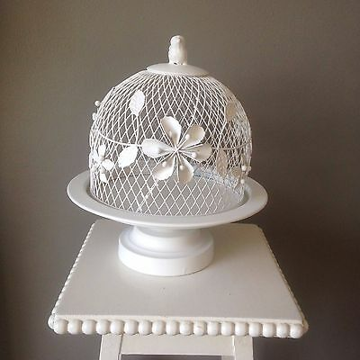 Beautiful Domed Vintage Style White Cake Stand Wedding , Party, Home, Display.