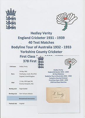 Hedley Verity England Cricketer Ashes Bodyline Tour 1932-33 Rare Hand Signed