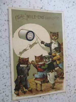 "Antique Victorian Trade Card, ""clark's Best Six. Mile-End Spool Cotton""  Cats"