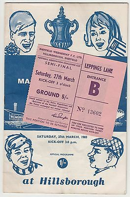 Football Programme & Match Ticket Manchester United v Leeds,FA Cup SF 1965.