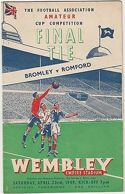Football Programme FA Amateur Cup Final 1949 Bromley v Romford (1st at Wembley)