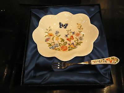 Aynsley China, Cottage Garden Boxed Fruit Dish And Fork,cottage Garden Pattern