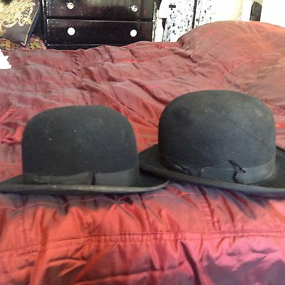 A Couple Of Bashed Up Vintage Bowler Hats