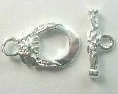 30-Silver Toggle Clasps - 9x12mm+FREE-50 matching earring hooks         (2C2)