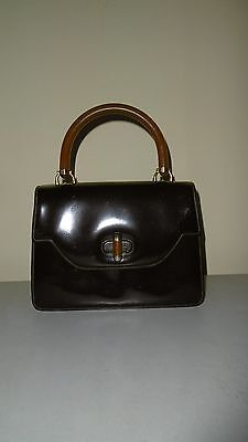 Gucci Vintage Patent Leather Handbag With Amberoid Handle