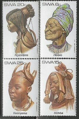 SOUTH WEST AFRICA 1982 Sc#499-502 TRADITIONAL HEADDRESSES COMPLETE MNH SET 1379