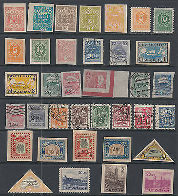 Estonia Small Collection of 36 Different Classic Stamps 1918-1941
