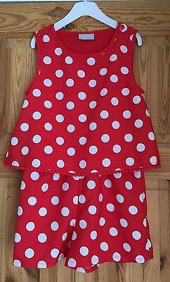 Girls playsuit age 5-6 Red Spotty Twins ??