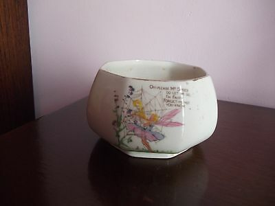 Vintage White Fairy Design Pottery Bowl
