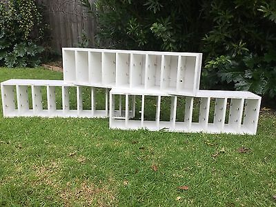 3 x White vinyl storage shelves