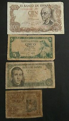 Spain 4 different banknotes