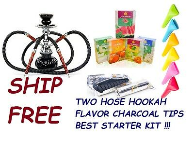 Hookah 2 Hose Glass Water Pipe Vase With charcoal Al Fakher Flavor Tips