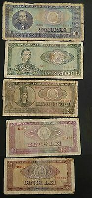 Romania 5 different banknotes 1966