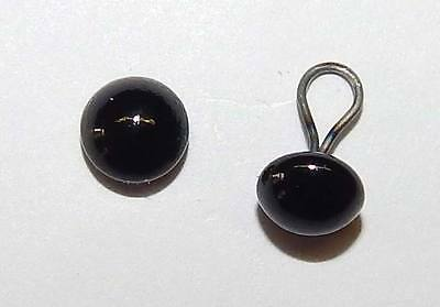 German Shiny Glass Eyes on wire loop, Black, 4 mm, Teddy bear making