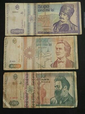 Romania 3 different banknotes 1991 to 1993