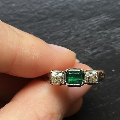 Georgian 14k gold and silver cushion cut diamond and emerald ring