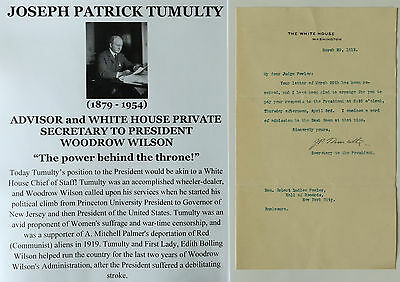 PRESIDENT WILSON CHIEF of STAFF WHITE HOUSE LETTER SIGNED re EAST ROOM MEETING !