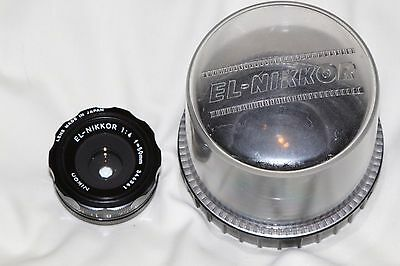 Nikon EL-Nikkor 50mm f4 Lens + CP-2 Bubble Case  Excellent Condition
