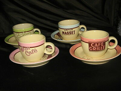 4 x ROSANNA VINTAGE PICTURES ESPRESSO CUPS & SAUCERS  -  NEW AND BOXED