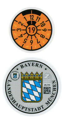 German License Plate Registration Seal (M) Munich BMW 2019 Set