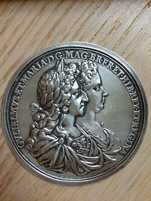 Large silver William and Mary Coronation medal 1689 by George Bower