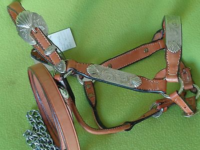 NEW w/ Tag Light Oil Dale CHAVEZ Sterling Silver YEARLING Show HALTER & Lead