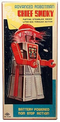 Chief Smoky Electric Powered Tin Robot 1950 Retro Toy From Japan Vintage Rare