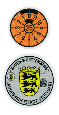 German License Plate Registration Seal Stuttgart Mercedes-Benz, Porsche 2019 Set