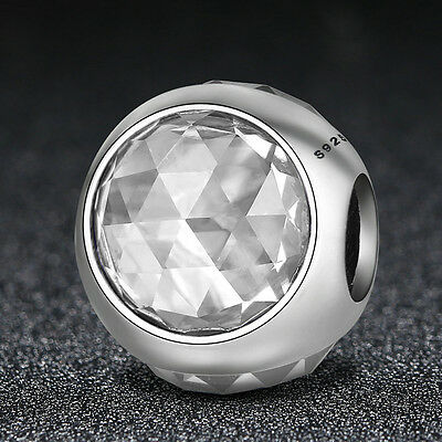 Authentic 925 sterling Clear CZ Radiant Droplet Bead Charm For Women Spring 2017