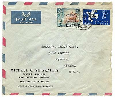 1962 Cyprus To USA, Nevada Cover With Republic Of Cyprus Overprint - (MM38)