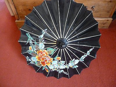 Vintage Small Oriental Japanese Chinese Asian Paper Umbrella Sun Parasol