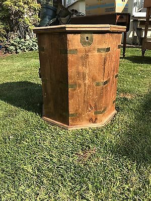 Vintage Octagonal Sheesham Trunk With Brass Inlay