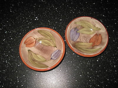pair of jersey pottery tulip design small pin dishes