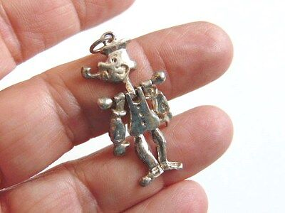 Vtg Popeye Charm Sterling Silver Moving Cartoon 925 Articulated Mechanical Olive