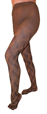 Dancing Girl One Size Cable Design Patterned Tights in Brown or Navy