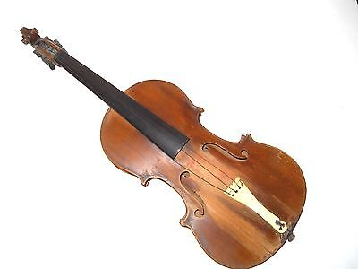 OLD VIOLIN w/WOOD PEGS in NECK & TUNING KEYS STRAIGHT BACK - For REPAIR