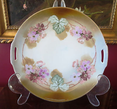 Estate Sale/ Reinhold Schlegelmilch Germany Hand Painted Open Handled Cake Plate