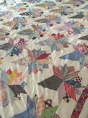 Vintage Quilt Top Hand Sewn Stitched Bouquet Flowers Top Only