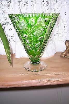Cut and engraved glass deco style green - Czechoslakian  circa 1950