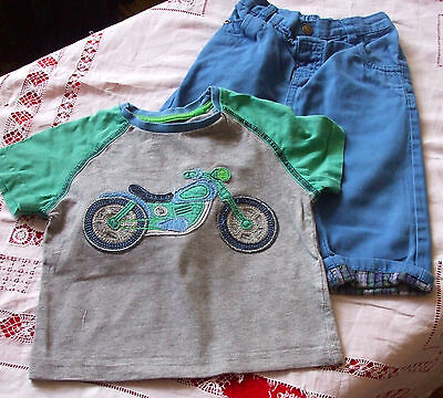 Baby Boys 2 Chinos & Top Outfit Age 9-12 Months