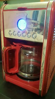 Used BELLA LINEA Collection 12 Cup Programmable Coffee Maker, Color Red works