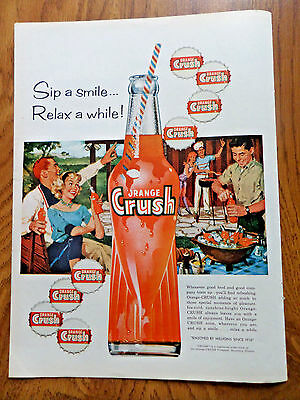 1959 Orange Crush Soda Pop Bottle Ad Cook-Out Barbecue Party Theme
