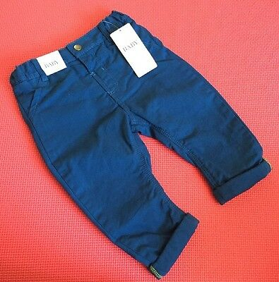 Marks & Spencer M&S Baby Boy Cotton Chino Trousers Navy Blue BN With Tags 6-9 M