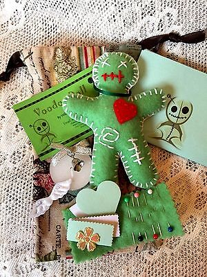 Handmade Voodoo Doll Spell Kit & Pouch. Green Fertility Poppet Doll, Luck Wealth