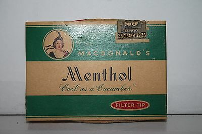 """Old Macdonald Menthol Cigarette Pack.""""cool As A Cucumber"""""""