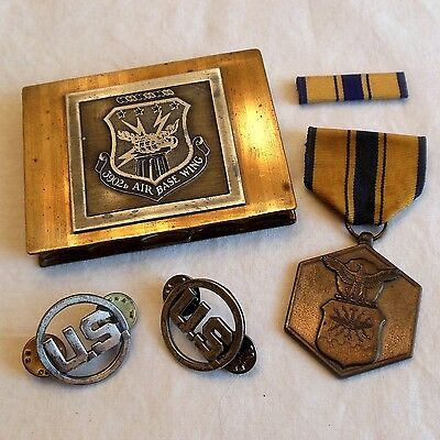 Vintage U.S, Air Force lot: 3902d Air Base Wing Compact & Military Merit medal