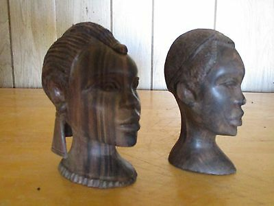 Old African Heavy Hard Wood Statue Hand Carved Bust Tribal Art Masai Figurines