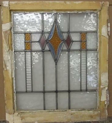 "MID SIZED OLD ENGLISH LEADED STAINED GLASS WINDOW Beautiful Diamond 20.5"" x 24"""