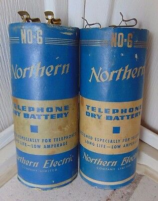(2) Vintage Northern Electric Canada Telephone Phone, Dry Cell Batteries Battery
