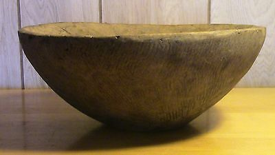 "Primitive Antique Hand Carved Wooden Farm Bowl 12-13"" diameter vintage"